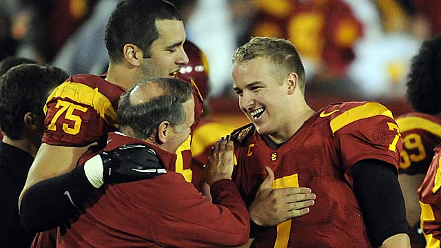 Matt Barkley (right) is enjoying the strong bonds he's made at USC. (US Presswire)