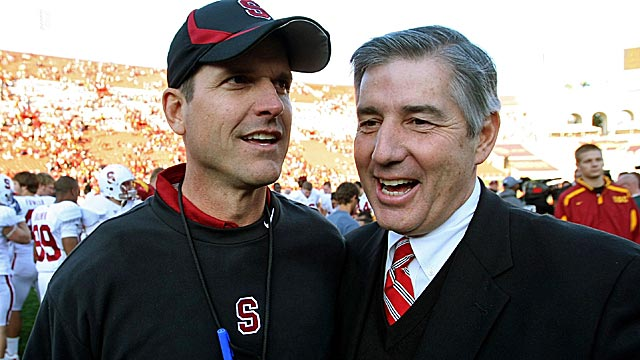 Former Pac-12 commissioner Bob Bowlsby (right) is now running the show for the Big 12. (Getty Images)