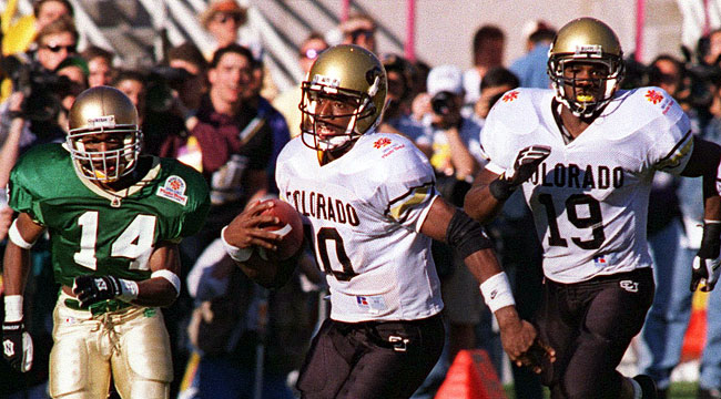Kordell Stewart and Colorado blasted Notre Dame 41-24 in the Fiesta Bowl. (Getty)