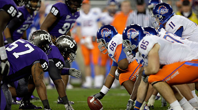 TCU vs. Boise State featured the first two non-BCS teams to play each other in a BCS Bowl. (Getty)