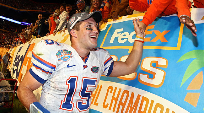 Tim Tebow's kept his promise, delivering another national title for the Gator Nation. (Getty)
