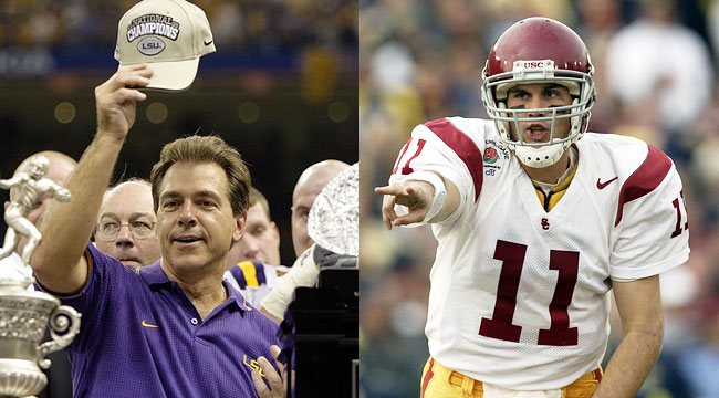 Nick Saban and LSU won the BCS title, but USC took claim to No. 1 in the AP Poll. (Getty)