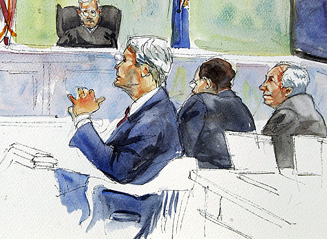 In a court rendering, Sandusky (right) and his defense team listen to Victim 1 testify. (AP)