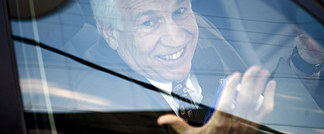 Sandusky is driven away after a fourth day at trial in Centre County, Pa. (Getty Images)