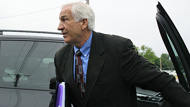 Sandusky arrives at court Monday morning. (Getty Images)