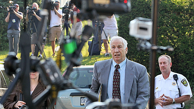 Sandusky arrives at court Thursday for closing arguments in his sex abuse trial. (Getty Images)