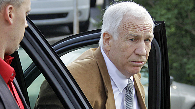 Sandusky arrives at court Friday morning. (AP)