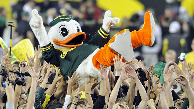 Oregon should rejoice. Winning a Pac-12 title should strongly help earn a playoff berth. (Getty Images)