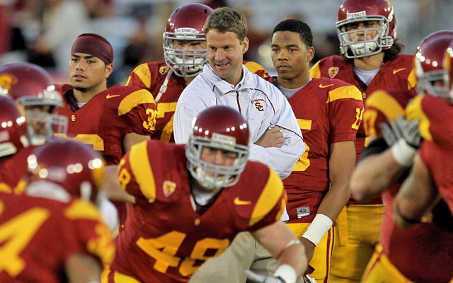 Despite NCAA sanctions and scholarship restrictions, Lane Kiffin has the Trojans on the rise. (Getty Images)