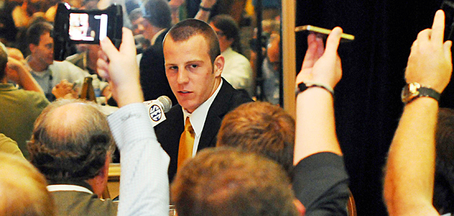 T.J. Moe steals the show at the first SEC media day. Now will Mizzou do the same on the field? (US Presswire)