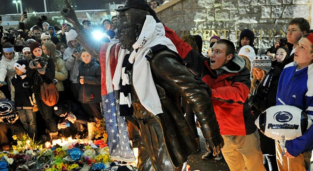 The statue is going down, Gregg Doyel says; it's only a matter of when. (Getty Images)