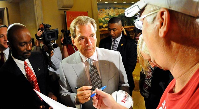 Nick Saban is a popular man in Alabama, for his titles and his measured leadership. (US Presswire)
