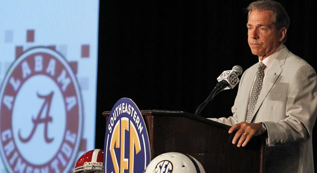 Saban believes the 14-team SEC should add a game to the conference schedule. (AP)
