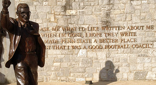 What will be will written about Paterno is up for debate. (Photo taken by Dennis Dodd)