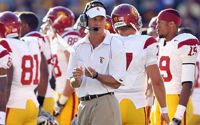 Lane Kiffin said he voted the Trojans No. 1 to show his players that he believed in them. (Getty Images)