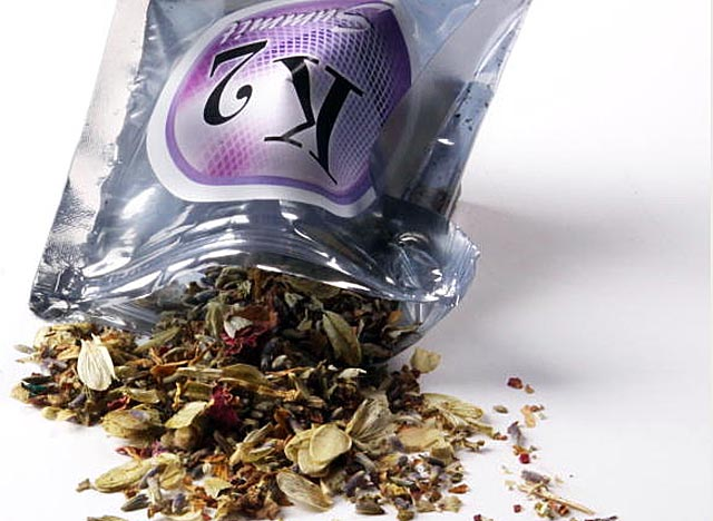 A one-ounce pouch of K2 contains a potpourri of dried herbs treated with a THC-like chemical. (Getty Images)