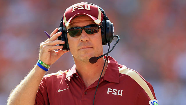 Jimbo Fisher on his revamped O-line: 'They are giving our defensive line all they can handle.' (Getty Images)