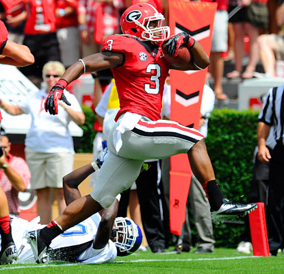 Todd Gurley makes a pitch to be Georgia's No. 1 back with 100 yards and three touchdowns on eight carries.  (US Presswire)