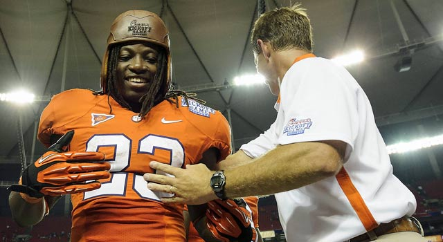 Dabo Swinney made sure Andre Ellington stayed in school, and it works out Saturday night. (US Presswire)