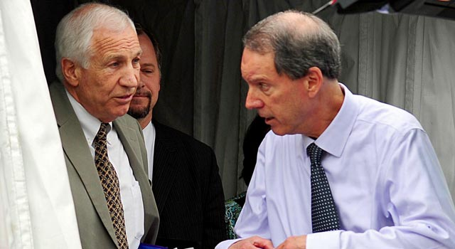 Joe Amendola (right) expects Jerry Sandusky's sentence to come in October. (US Presswire)