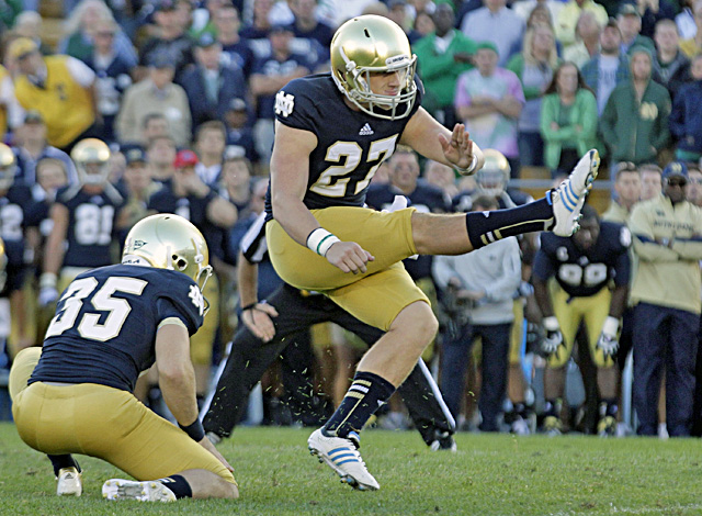 Kyle Brindza boots the game-winning field goal in the closing seconds to give the Irish their second win. (AP)