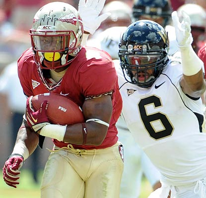 A year after breaking his back vs. Wake Forest, Chris Thompson gains 197 yards on nine carries, scoring two TDs.  (US Presswire)