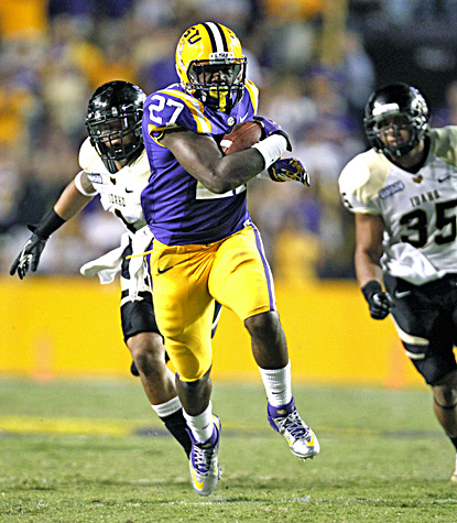 LSU running back Kenny Hilliard runs for a 71-yard touchdown in the second half against Idaho. (AP)