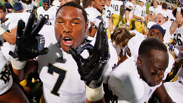 Stephon Tuitt and the Irish march into East Lansing and end the Spartans' home win streak. (Getty Images)
