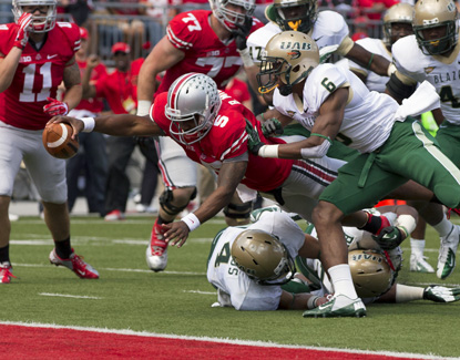 Braxton Miller lunges for the end zone against UAB in the Buckeyes' win Saturday in Columbus. (US Presswire)