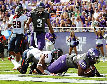 TCU's Josh Boyce scores a touchdown in the first half of the Horned Frogs' win over Virginia. (US Presswire)