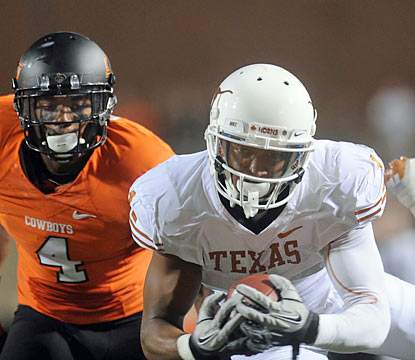 Wideout Mike Davis and the Longhorns hang on for a wild road win against Big 12 foe Oklahoma State. (US Presswire)