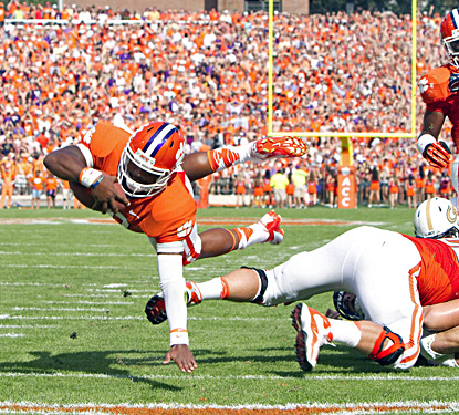 Clemson's Tajh Boyd dives in to the end zone for a touchdown in the first quarter against Georgia Tech. (US Presswire)