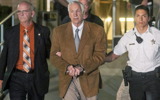 The state notified Jerry Sandusky by letter that his crimes triggered forfeiture of his pension. (US Presswire)