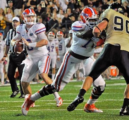 Jeff Driskel runs for 177 yards and three touchdowns in the Gators' 31-17 win over the Commodores. (Getty Images)