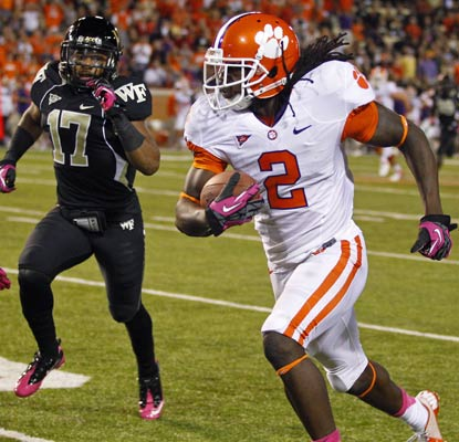 Sammy Watkins sets a school record with 202 yards receiving on eight catches for the high-powered Tigers.  (AP)