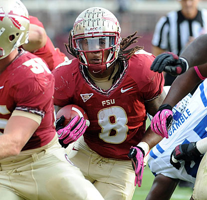 Devonta Freeman steps into the RB void for Florida State, rushing for 105 yards and scoring two touchdowns.  (US Presswire)