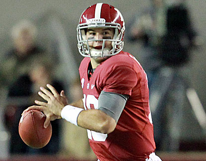 Alabama QB AJ McCarron completes 16 of 23 passes for 208 yards and two touchdowns. (US Presswire)