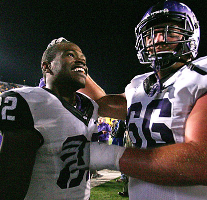 Josh Boyce (82) celebrates after making the game-winning 2-point conversion catch for the Horned Frogs.  (US Presswire)