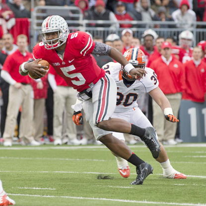 Ohio State QB Braxton Miller passes for two scores and runs for another in the Buckeyes' 52-22 victory over Illinois. (US Presswire)