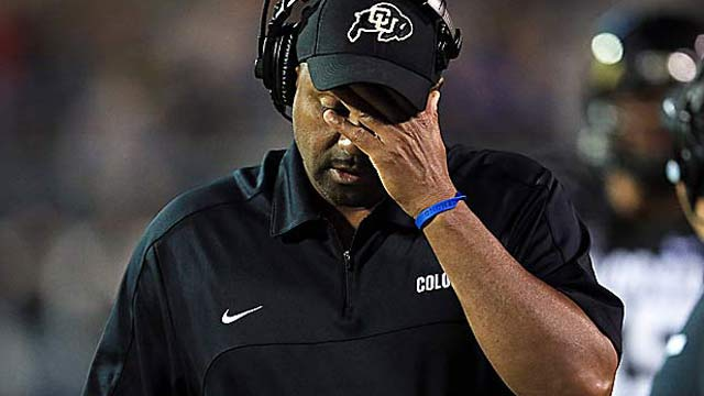 Jon Embree's Buffs are in danger of finishing last nationally in scoring offense and defense. (Getty Images)