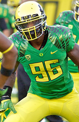 Converted from offense, DE Dion Jordan has become a rare impact defensive player for the Ducks. (Getty Images)