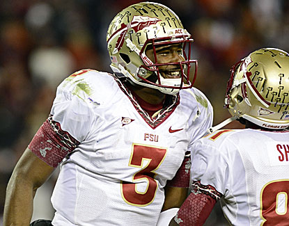 FSU quarterback EJ Manuel completes 25 of 42 passes for 326 yards and three TDs against the Hokies. (US Presswire)