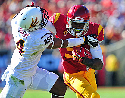 USC's Marqise Lee catches 10 passes for 161 yards and a touchdown against the Sun Devils. (US Presswire)