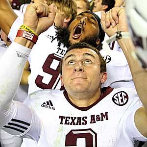 Johnny Manziel may be celebrating more than an upset of Alabama. (Getty Images)