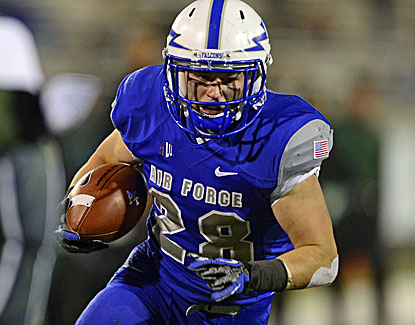 Air Force running back Cody Getz rushes for 125 yards and a touchdown against Hawaii on Friday. (US Presswire)