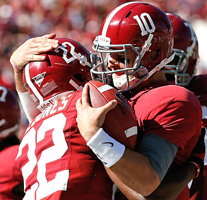 AJ McCarron celebrates with Christion Jones after setting Alabama's single-season record for passing TDs (21).  (Getty Images)