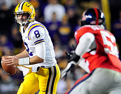 LSU quarterback Zach Mettenberger completes 22 of 37 passes for 282 yards but is intercepted twice. (Getty Images)