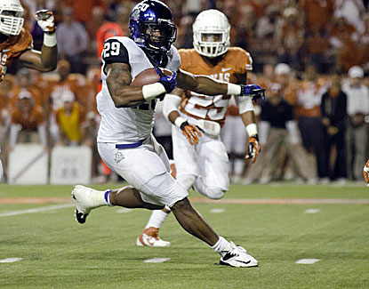 TCU tailback Matthew Tucker runs for two touchdowns in the Horned Frogs upset of No. 18 Texas. (US Presswire)
