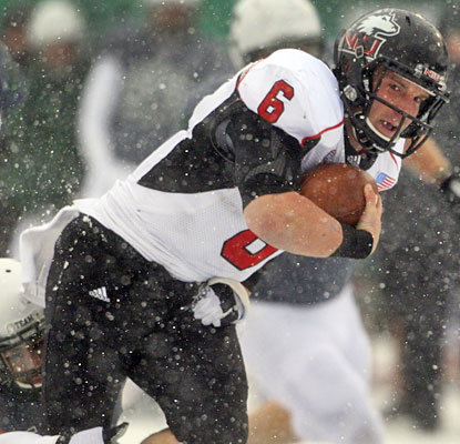 Northern Illinois QB Jordan Lynch is one of two Huskies to rush (mush?) for over 100 yards vs. Eastern Michigan.  (AP)