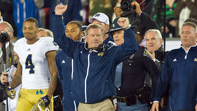 Brian Kelly: 'Our guys have incredible resolve regardless of the circumstances ...' (US Presswire)